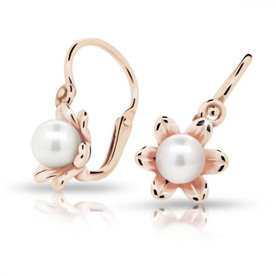 Baby earrings Danfil C2239 Rose gold, with pearls, Front backs