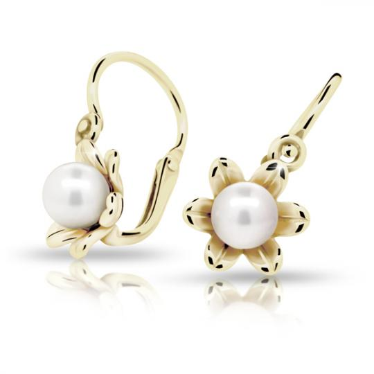 Baby earrings Danfil C2239 Yellow gold, with pearls, Front backs