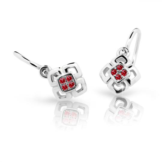 Baby earrings Danfil C2240 White gold, Ruby Dark, Front backs