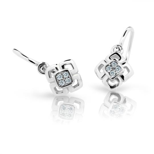 Baby earrings Danfil C2240 White gold, White, Front backs