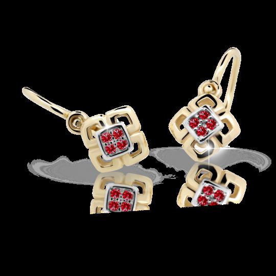Baby earrings Danfil C2240 Yellow gold, Ruby Dark, Front backs