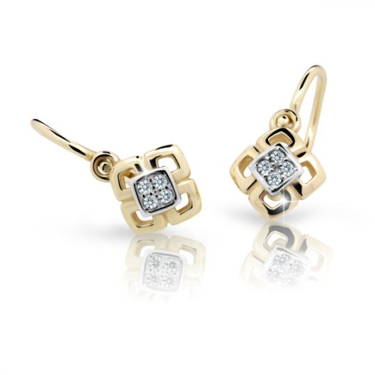 Baby earrings Danfil C2240 Yellow gold, White, Front backs