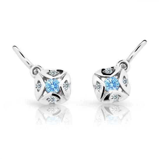 Baby earrings Danfil C2250 White gold, Arctic Blue, Front backs