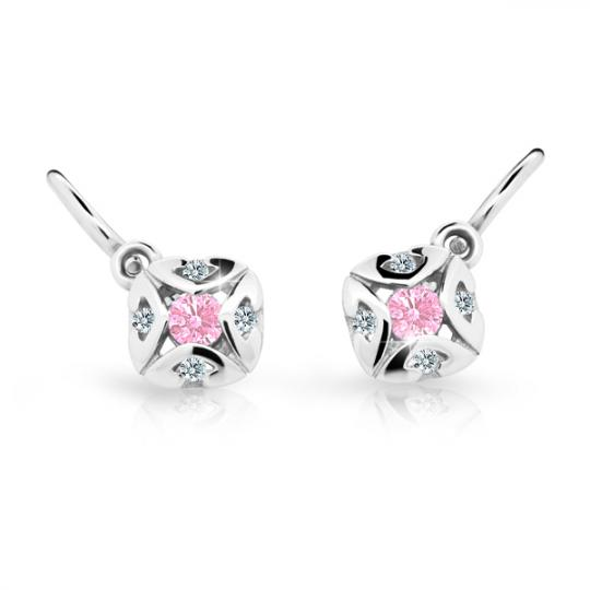 Baby earrings Danfil C2250 White gold, Pink, Front backs