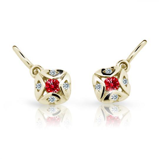 Baby earrings Danfil C2250 Yellow gold, Ruby Dark, Front backs