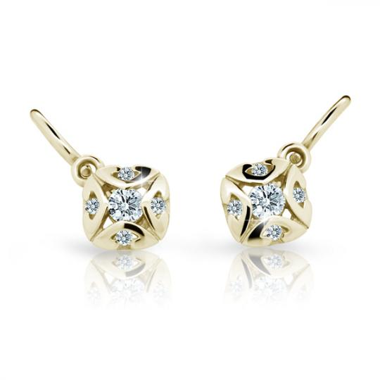 Baby earrings Danfil C2250 Yellow gold, White, Front backs