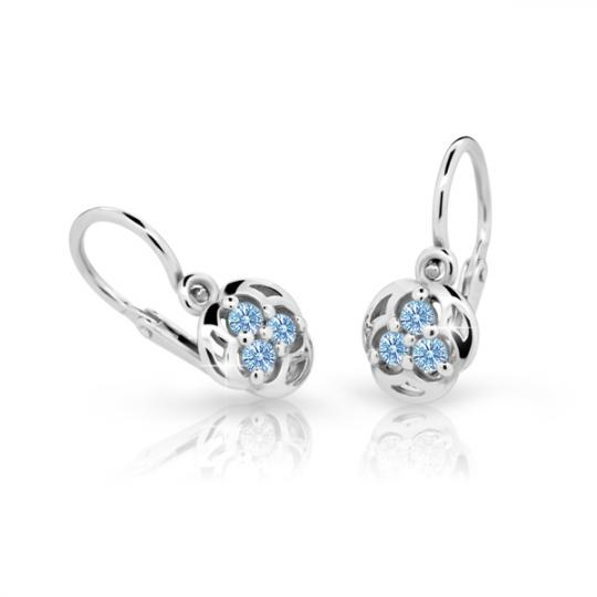Baby earrings Danfil C2252 White gold, Arctic Blue, Front backs