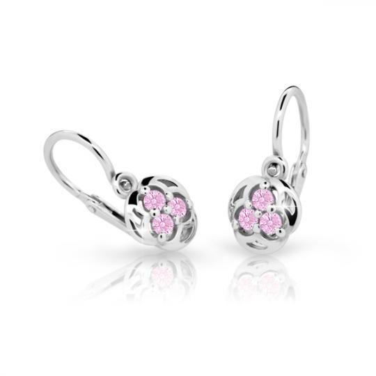 Baby earrings Danfil C2252 White gold, Pink, Front backs