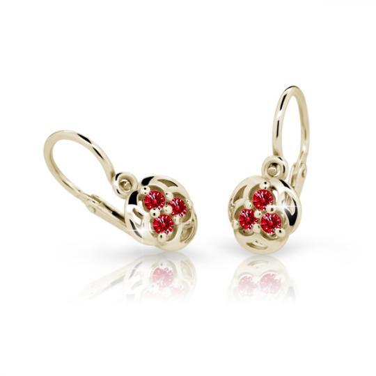 Baby earrings Danfil C2252 Yellow gold, Ruby Dark, Front backs
