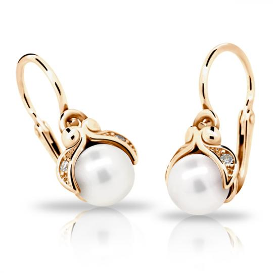 Baby earrings Danfil C2414 Rose gold, with pearls, Front backs