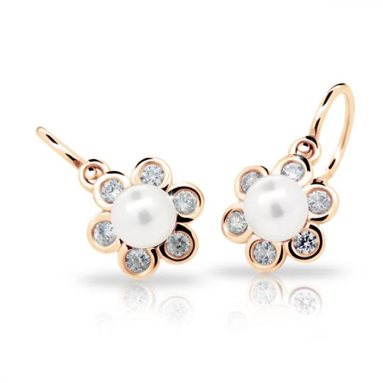 Baby earrings Danfil C2489 Rose gold, with pearls, Front backs