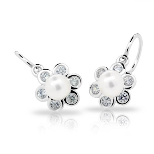 Baby earrings Danfil C2489 White gold, with pearls, Front backs