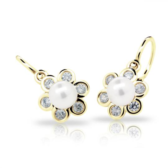 Baby earrings Danfil C2489 Yellow gold, with pearls, Front backs