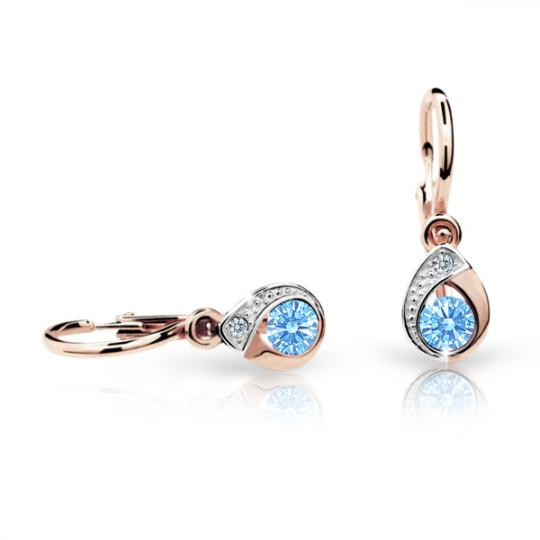 Baby earrings Danfil Drops C1898 Rose gold, Arctic Blue, Front backs
