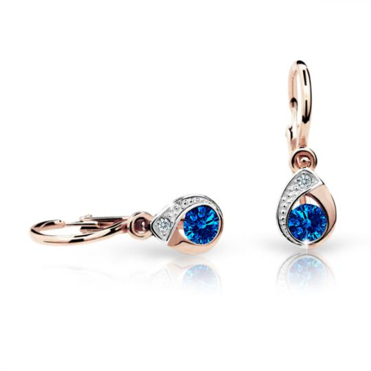 Baby earrings Danfil Drops C1898 Rose gold, Dark Blue, Front backs