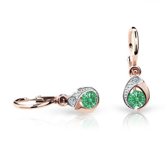 Baby earrings Danfil Drops C1898 Rose gold, Emerald Green, Front backs