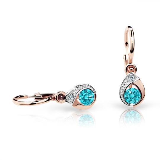 Baby earrings Danfil Drops C1898 Rose gold, Mint Green, Front backs