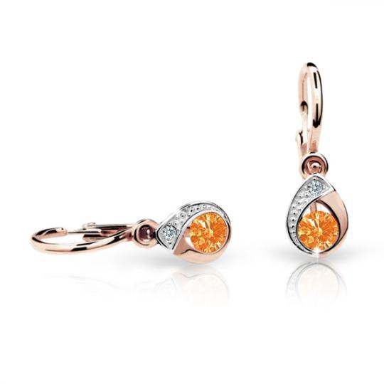Baby earrings Danfil Drops C1898 Rose gold, Orange, Front backs