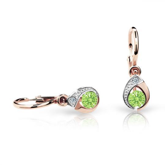 Baby earrings Danfil Drops C1898 Rose gold, Peridot Green, Front backs