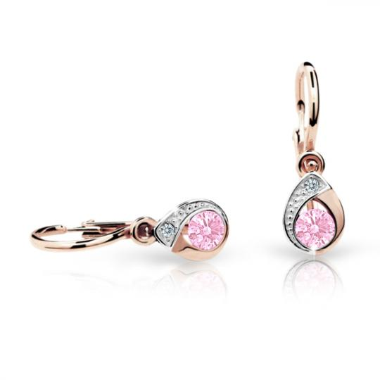 Baby earrings Danfil Drops C1898 Rose gold, Pink, Front backs