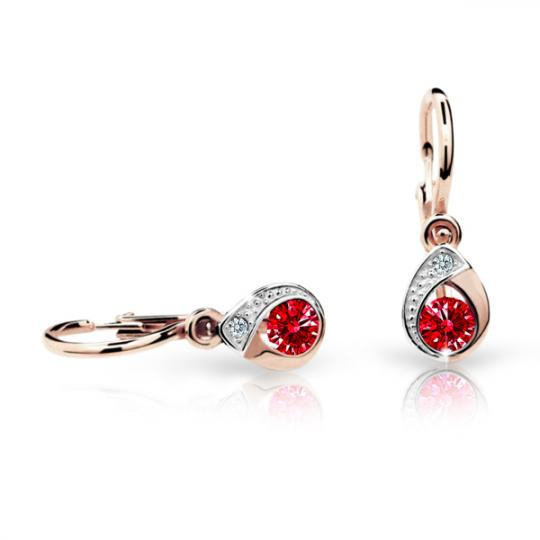 Baby earrings Danfil Drops C1898 Rose gold, Ruby Dark, Front backs