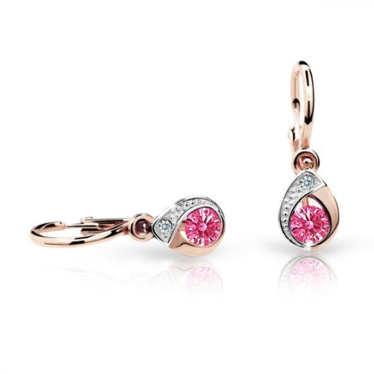 Baby earrings Danfil Drops C1898 Rose gold, Tcf Red, Front backs