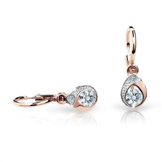 Baby earrings Danfil Drops C1898 Rose gold, White, Front backs