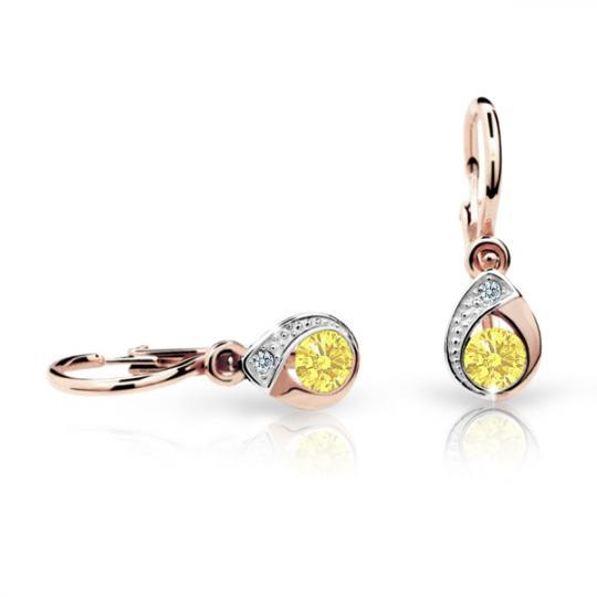 Baby earrings Danfil Drops C1898 Rose gold, Yellow, Front backs