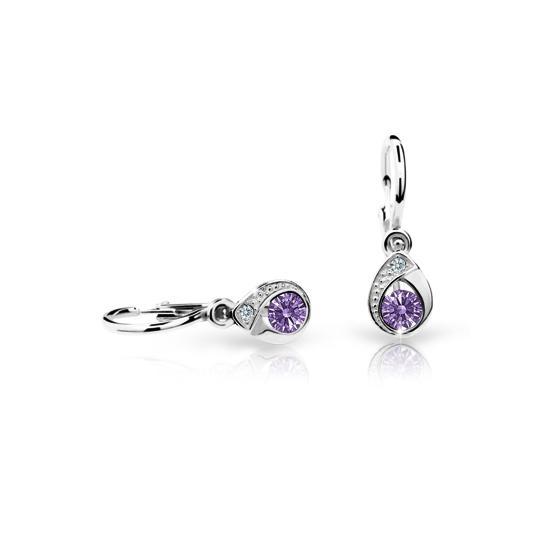 Baby earrings Danfil Drops C1898 White gold, Amethyst, Front backs