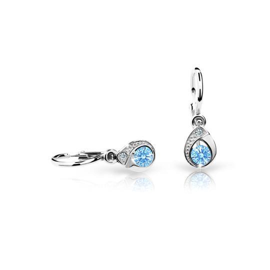 Baby earrings Danfil Drops C1898 White gold, Arctic Blue, Front backs