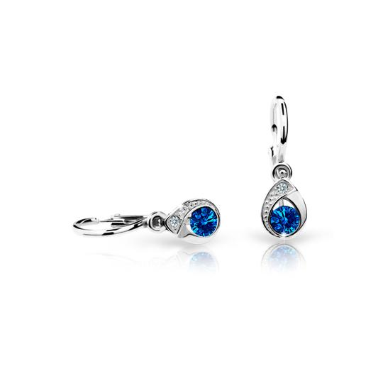 Baby earrings Danfil Drops C1898 White gold, Dark Blue, Front backs