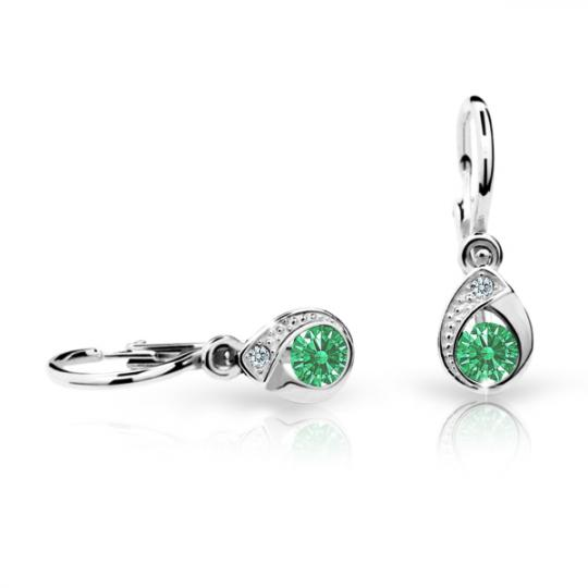 Baby earrings Danfil Drops C1898 White gold, Emerald Green, Front backs