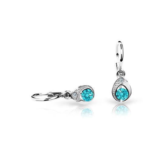Baby earrings Danfil Drops C1898 White gold, Mint Green, Front backs
