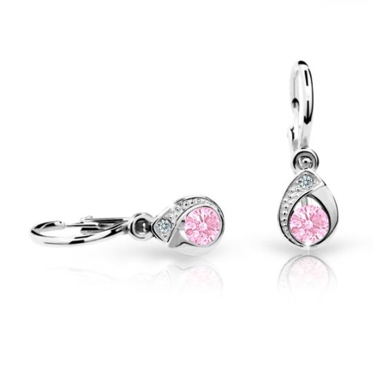 Baby earrings Danfil Drops C1898 White gold, Pink, Front backs