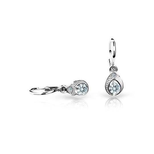 Baby earrings Danfil Drops C1898 White gold, White, Front backs