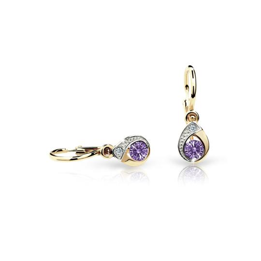 Baby earrings Danfil Drops C1898 Yellow gold, Amethyst, Front backs