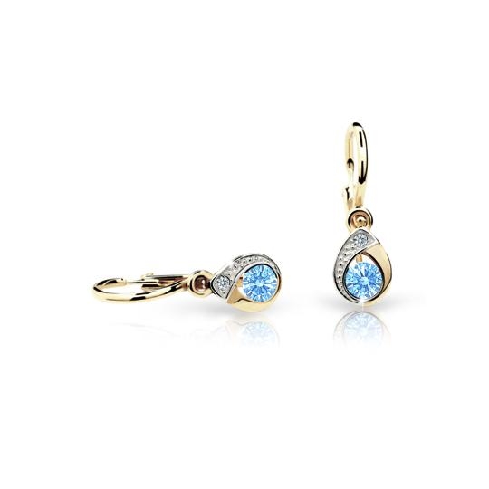 Baby earrings Danfil Drops C1898 Yellow gold, Arctic Blue, Front backs