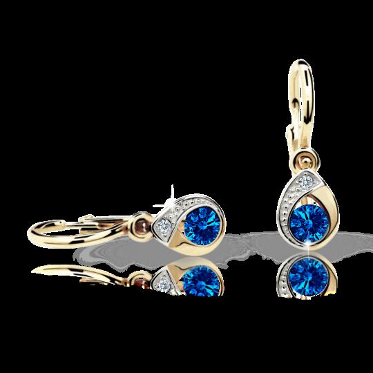 Baby earrings Danfil Drops C1898 Yellow gold, Dark Blue, Front backs