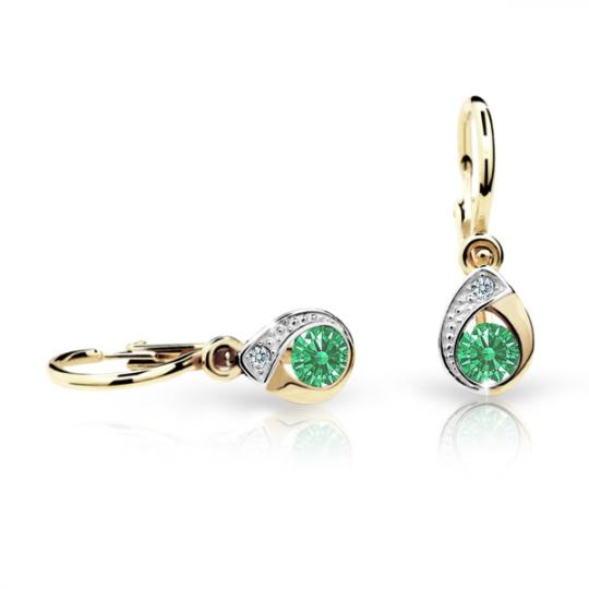 Baby earrings Danfil Drops C1898 Yellow gold, Emerald Green, Front backs