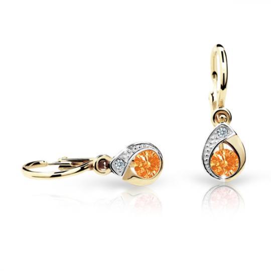 Baby earrings Danfil Drops C1898 Yellow gold, Orange, Front backs