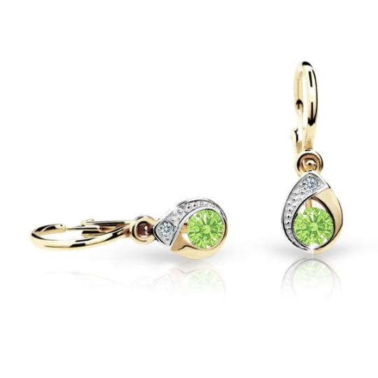 Baby earrings Danfil Drops C1898 Yellow gold, Peridot Green, Front backs