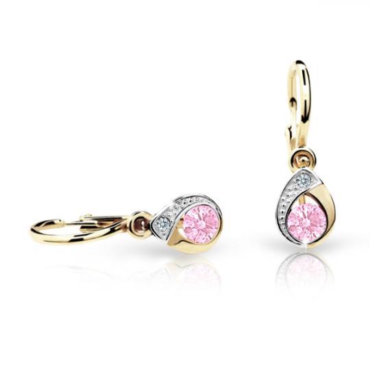 Baby earrings Danfil Drops C1898 Yellow gold, Pink, Front backs