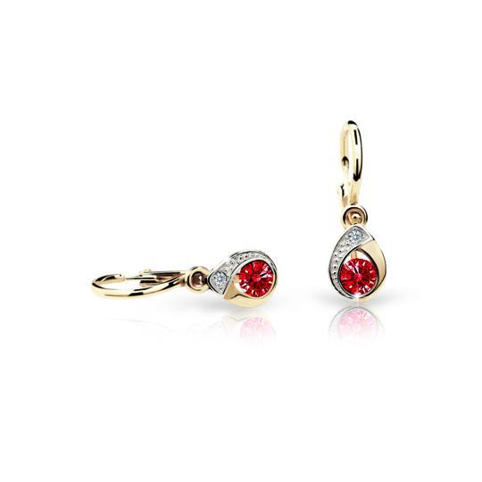 Baby earrings Danfil Drops C1898 Yellow gold, Ruby Dark, Front backs