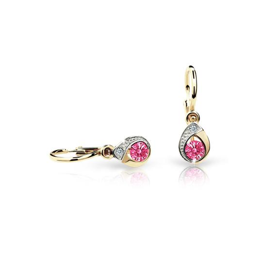 Baby earrings Danfil Drops C1898 Yellow gold, Tcf Red, Front backs