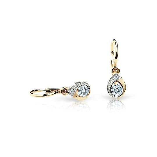 Baby earrings Danfil Drops C1898 Yellow gold, White, Front backs