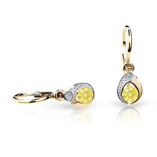 Baby earrings Danfil Drops C1898 Yellow gold, Yellow, Front backs