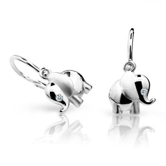 Baby earrings Danfil elephants C1955 White gold, White, Front backs
