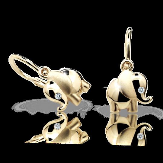 Baby earrings Danfil elephants C1955 Yellow gold, White, Front backs
