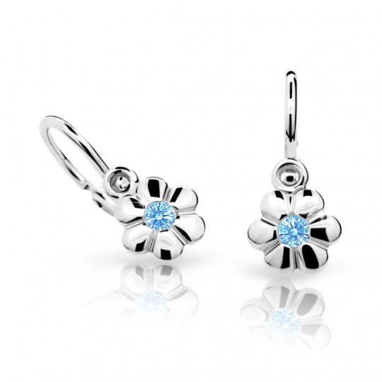 Baby earrings Danfil Flowers C1736 White gold, Arctic Blue, Front backs