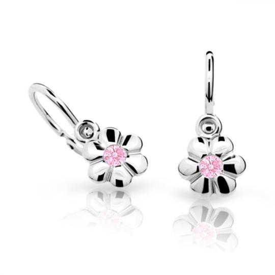 Baby earrings Danfil Flowers C1736 White gold, Pink, Front backs